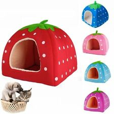 Soft Strawberry Pet Dog Cat Bed House Kennel Doggy Warm Cushion Basket 3 Size