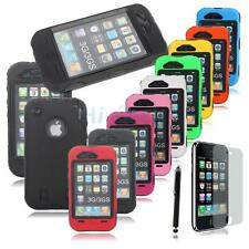 1/9 Color Black 3 Piece High Impact Combo Hard Rubber Case for iPhone 3G 3GS