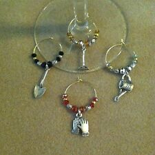 wine glass charms working in the garden set of 4 gold or silver tone rings