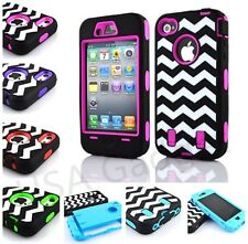 Cute Chevron Waves Hybrid Rugged combo Hard Case Cover For Apple iPhone 4S 4 US