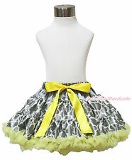 Baby Girl Yellow Gray White Quatrefoil Clover Pettiskirt Dance Tutu Skirt 1-8Y