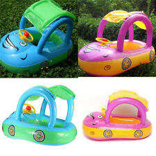 Inflatable Baby Float Seat Boat Sun shade Swimming Pool Tube Ring Car Cute