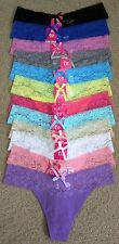 Gift Lot 1 3 6 OR 12 Plain Sexy Cotton Spandex Lace Waist Thong Panty S/M/L/XL