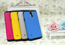 2 in 1 Black Soft Rubber and Hard Plastic Cover Case For Samsung Galaxy S5 i9600
