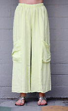 ET'LOIS USA  Linen BEBE  PANT Wide-Leg  w/ Deep Pocket Details  S M L XL  LIME