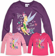 Girls Tinkerbell Long Sleeve T Shirt Disney Fairies Top New Age 3 4 6 8 Years