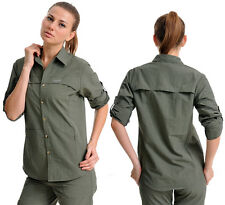 Women Long Sleeve Work Shirts Quick-Drying Breathable Tops UV Protection Blouses