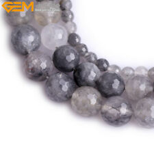 """Natural Gemstone Faceted Cloudy Quartz Crystal Stone Beads For Jewelry Making 5"""""""