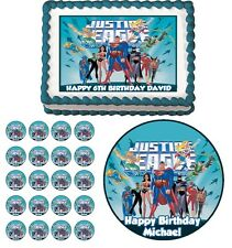 Justice League Edible Cake Topper Cupcake Image Decoration Birthday Party