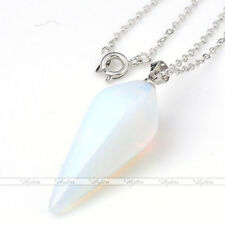 GEMSTONE Crystal Pendulum Healing Dowsing Reiki Chakra Pendant Chain Necklace
