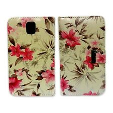 WHITE AND PINK FLOWER BOOK FLIP POUCH CASE FOR SAMSUNG GALAXY NOTE 3 GT-N9000