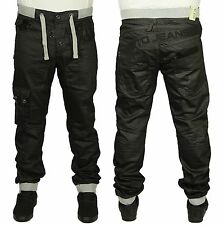 MENS BRAND NEW JEANS ETO IN BLACK COLOUR CUFFED JOGGERS ALL SIZES 28 TO 42