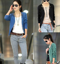 GIRL Womens Charm Long-Sleeved Leather Buckle Collar Slim Top Jacket outwear MO