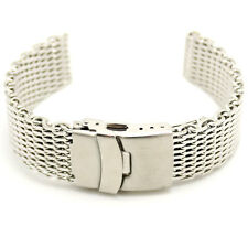 18/20/22/24mm Web Mesh Stainless Steel Wrist Watch Buckle Silver Band Mens 365