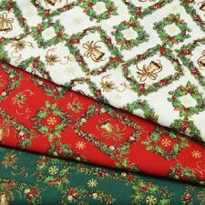Christmas Bells Ribbons Snowflakes Holly Wreath Berries 100% Cotton Fabric