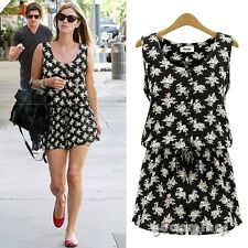 Summer Women Chiffon Vintage Floral Sleeveless Playsuit Jumpsuit Romper Overall