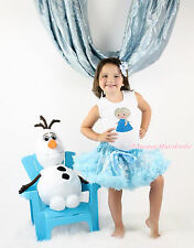 Snow Princess Elsa Print White Top Snowflakes Blue Baby Girl Pettiskirt Set 1-8Y