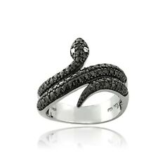 925 Silver Black Diamond Accent Snake Wrap Around Ring