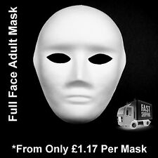 Face Masks Plain White Full Face Adult Masquerade To Paint Decorate