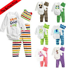 3PCS Infant Boy Girl Romper Bodysuit+Pant+Hat Cotton Pajama Set Clothes 6-18M