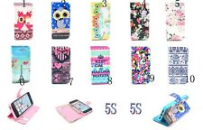 New for iPhone 5 5S OWL Flower Tower Clip PU Leather Flip Stand Wallet Case