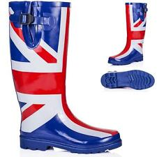 NEW WOMENS FLAT UNION JACK FESTIVAL WELLIES WELLINGTON RAIN BOOTS SIZE 3 - 8
