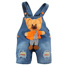 Baby Boy Kid Cute Bear Denim Jeans One-piece Rompers Playsuits Dungarees Overall