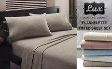 LUX Real Egyptian Cotton Flannelette Sheet Set King Single Size Bed Color Choice