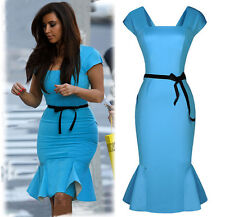 Ladies Peplum Bodycon Pencil Skirt Knee Falbala Business Party Dresses Size 8-16