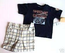 NWT Boys Timberland 2 piece shirt shorts t-shirt set age 12 months or 4 years