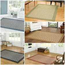 Modern Contemporary Flat Weave Bordered Rug 5 Colours 3 Different Sizes