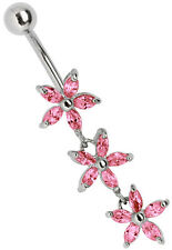 Navel Piercing Jewellery Banana Stone Flowers Trio Hanging moving flowers