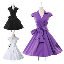 Womens Fashion 1950s 1960s Rockabilly V Sttyle Lapel Pinup Swing Evening Dresses