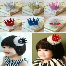 Cute Baby Girls Kids Princess Style Headwear Deco Crown Lace Hair Clip HairpinLD