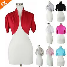 Womens Plus Size Bolero Top Short Sleeve Ruched Shrug Jacket  Solid Casual 1XL