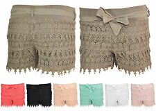 ~*~ Damen Shorts Mini Hot Pants Häkelshorts Häkel Spitze Panty XS 34 S 36 M 38