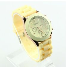 NEW Unisex Geneva Silicone Jelly Gel Quartz Analog Sports Wrist Watch beige AB