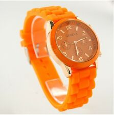 NEW Unisex Geneva Silicone Jelly Gel Quartz Analog Sports Wrist Watch orange AB