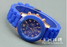 NEW Unisex Geneva Silicone Jelly Gel Quartz Analog Sports Wrist Watch blue AB