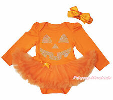 Halloween Rhinestone Pumpkin Face Orange L/S Bodysuit Girl Baby Dress NB-18Month