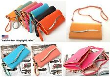 Woman Ladies PU Leather Crossbody Wallet Purse Clutch Bag  With Long Short Strap
