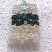 Handmade floral fabric bridal hair comb - 4 colors to choose from - set of 2