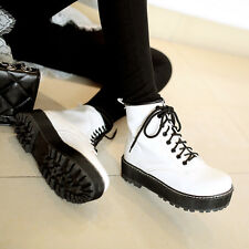 Women Strappy Wedge Heel Martin Boots England Cool Girls Autumn Shoes Plus Size