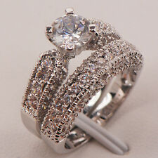 White Sapphire 925 Sterling Silver Engagement Wedding Ring Size 6 7 8 9 10 F664