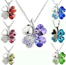 Fashion Women Silver Chain Statement Crystal Pendant Four Leaf Clover Necklace