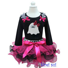 Halloween Zebra Hot Pink Black Pettiskirt Tutu White Ghost Tee Party Dress 1-7Y
