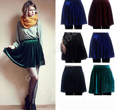 Vintage Style High Waist Lady's Pleuche Velvet Pleated A-Line Mini Skirt