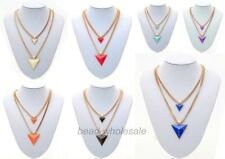 Fashion Women's Lady's Gold Plated Chain Triangle Double deck Pendant Necklace