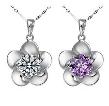 925 sterling silver fashion flower lady necklace pendant crystal 2 colors hot