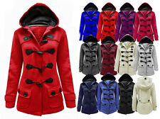 NEW LADIES HOODED DUFFLE COAT TRENCH POCKET WOMENS HOODED JACKET PLUS SIZE 8 -20